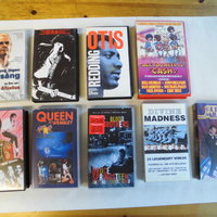 9 st Vhs. Otis Redding, Madness, Queen, Michael Jackson mm