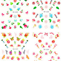 NYTT! 4 ARK Nageldekorationer / 3D Water Transfer Nail Art Stickers 225-228