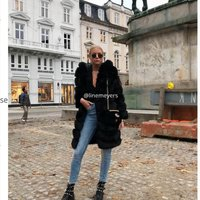 Faux fur jacket med luva