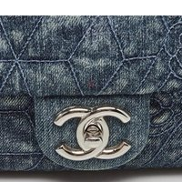 Autentisk denim chanel klassisk klaffväska