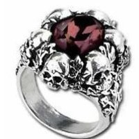 SHADOW OF DEATH SKULLS RING BURGUNDY CRYSTAL ALCHEMY GOTHIC RING