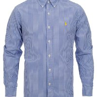 Polo Ralph Lauren Slim Fit Shirt Poplin Stripe Blue White
