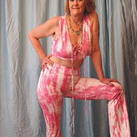 Pink Tie-Dyed Lace Up Crop Top Flare Pants Set-MED