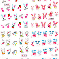 NYTT! 4 ARK Nageldekorationer / 3D Water Transfer Nail Art Stickers 1629-1632