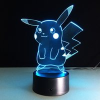 3D vision night ledlamp pokemon pikachu
