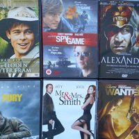 DVD FILM 88 kr/st FURY, WANTED, Mr & Mrs Smith, Alexander, Spy game med Brad Pitt Angelina Jolie