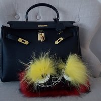 Fendi FF Monster Väska Kedja Päls Fox Fur Bag Mini Clutch Flap