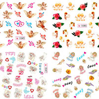 NYTT! 4 ARK Nageldekorationer / 3D Water Transfer Nail Art Stickers 1645-1648