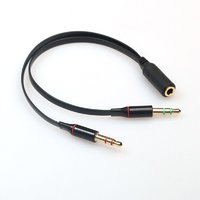3.5mm Audio Mic Cable Headphone Adapter Female To 2 Male Cable/Black/Free Shipping