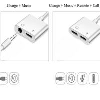 iphone to 3.5mm Dual Aux Jack Headphone Earphones Audio Splitter White Cable Charging
