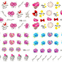 NYTT! 4 ARK Nageldekorationer / 3D Water Transfer Nail Art Stickers 125-128