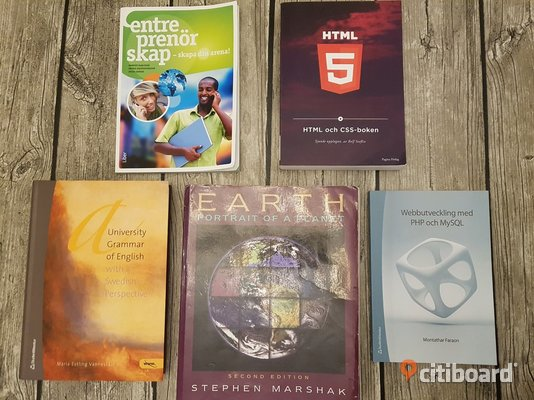 Studentlitteratur: Entreprenörskap - Skapa din arena!, HTML och CSS-boken, Webbutveckling med PHP och MySQL, A University Grammar of English with a Swedish Perspective, Earth Portrait of a Planet. Um
