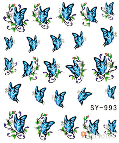 NYTT! 4 ARK Nageldekorationer / 3D Water Transfer Nail Art Stickers 993-996 Strömsund Sälj