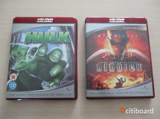 The Chronicles Of Riddick +Hulk. 2 st HDDVD Filmer.  Eslöv