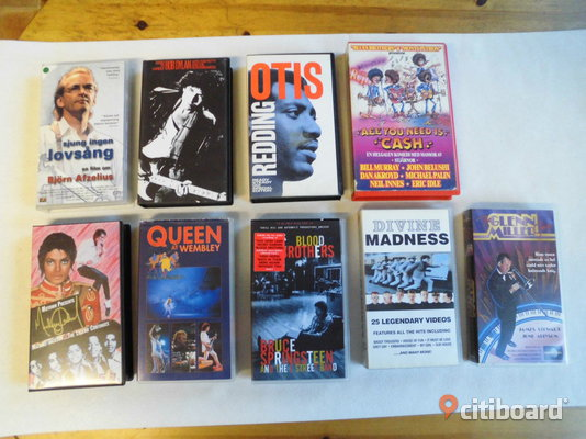 9 st Vhs. Otis Redding, Madness, Queen, Michael Jackson mm  Eslöv