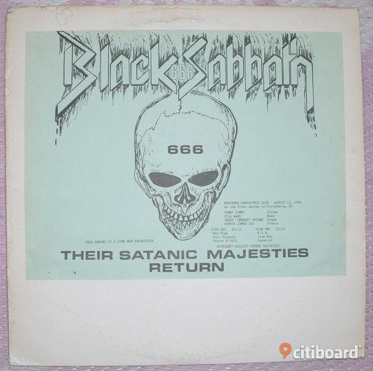 Bootleg vinyl skiva Black Sabbath 1980 med Dio Their Satanic Majesties Return LP Trelleborg