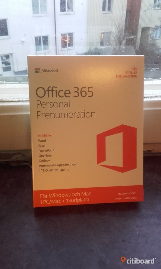 Office 365 Personal Prenumeration Windows Mac Surfplatta Produktnyckel