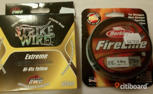 Fireline 270m  0.12mm och strikewire yellow 135m  0.23mm Vännäs