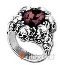 SHADOW OF DEATH SKULLS RING BURGUNDY CRYSTAL ALCHEMY GOTHIC RING Smycken Stockholm