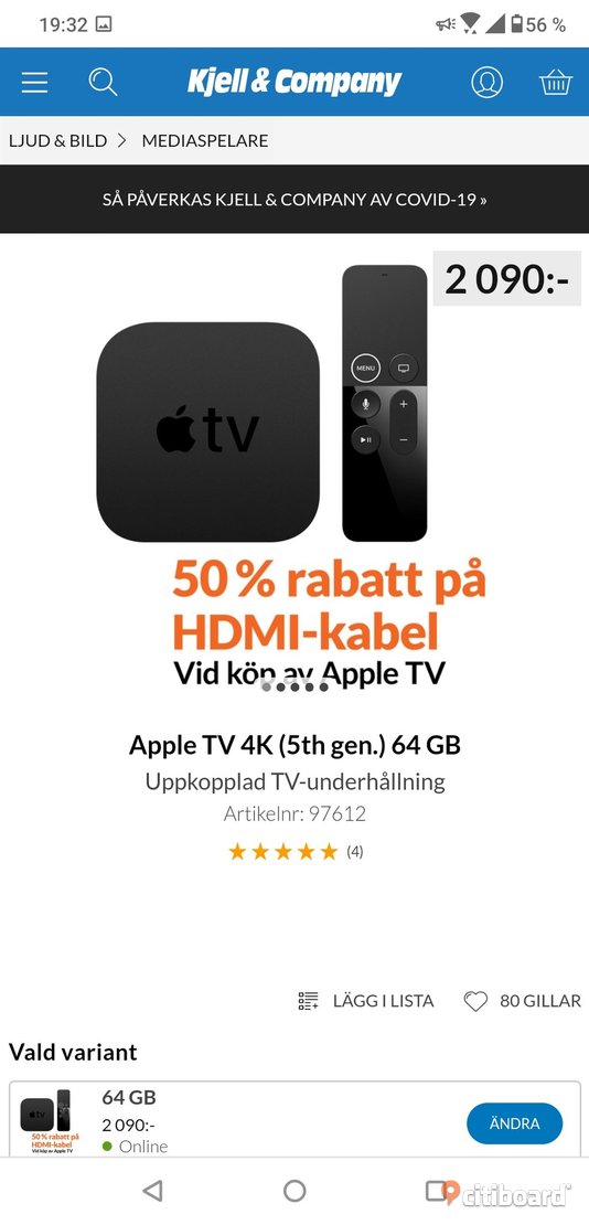 Apple TV 4K (5th gen.) 64 GB Göteborg