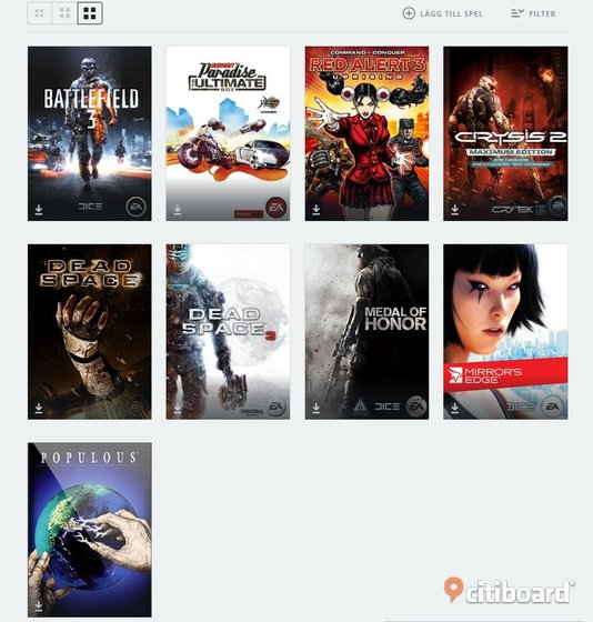 Origin konto - Battlefield 3, Burnout Paradise: Ultimate box, Red Alert 3: Uprising, Crysis 2 Maximum Edition, Dead Space, Dead Space 3, Medal of Honor, Mirror's Edge, Populous Gotland