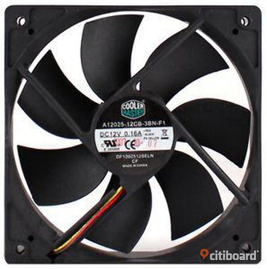 Coolermaster Black 120mm 12CM PC Cooling Cooler Fan Case / CPU Fan Datortillbehör & Program Landskrona