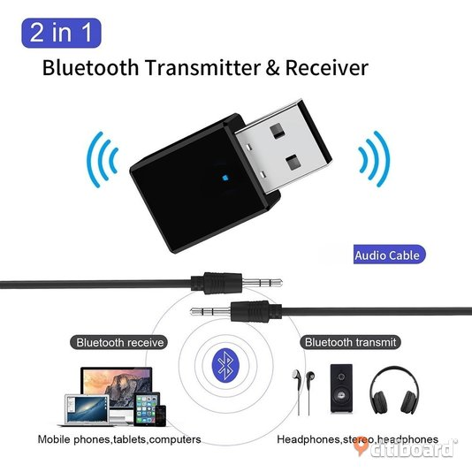 Bluetooth 5.0 Receiver Transmitter 2 In 1 RX TX USB Car Kit Stereo Music 3.5mm AUX Audio Wireless Handsfree Adapter Headphone Stockholm