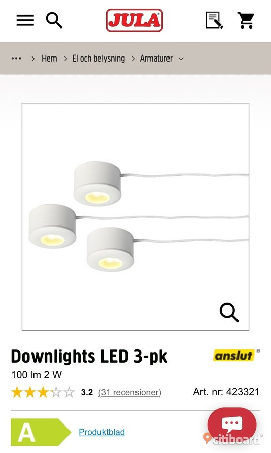 Jula downlights LED 3-pk Umeå