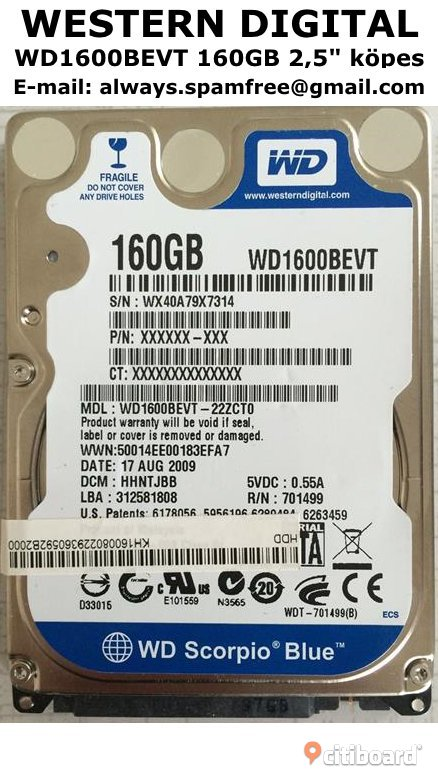 "Western Digital WD1600BEVT 160GB 2,5"" köpes"