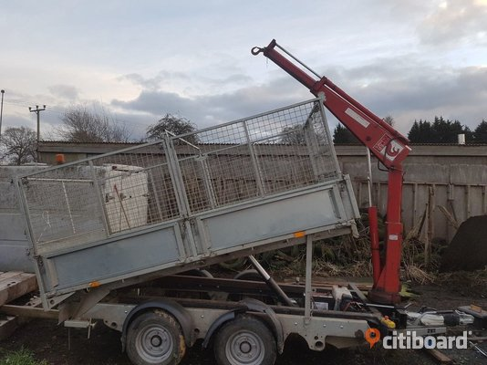 2005 Ifor Williams tippvagn med Hiab Avesta