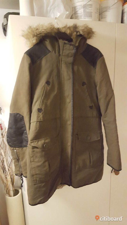 Zara Green Combined Parka With Fur Hood 44-46 (L) Landskrona