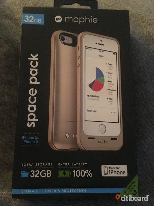 Mophir batteriskal 32GB Space Pack för iPhone 5/5s/SE  Kalmar
