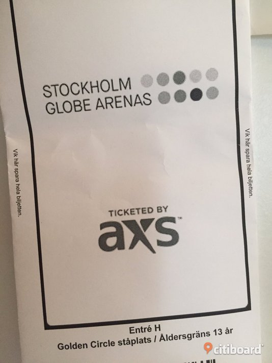Justin bieber golden circle VIP Filipstad Sälj