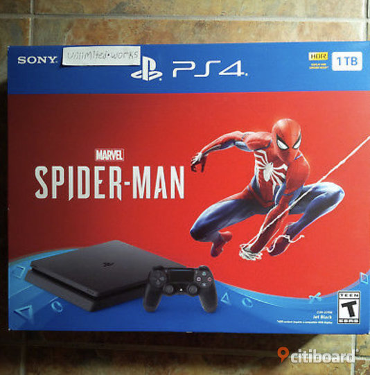 PlayStation 4 Slim 1TB-konsol - Marvel's Spider-Man Bundle - Jet Black PS4 Ny Härnösand