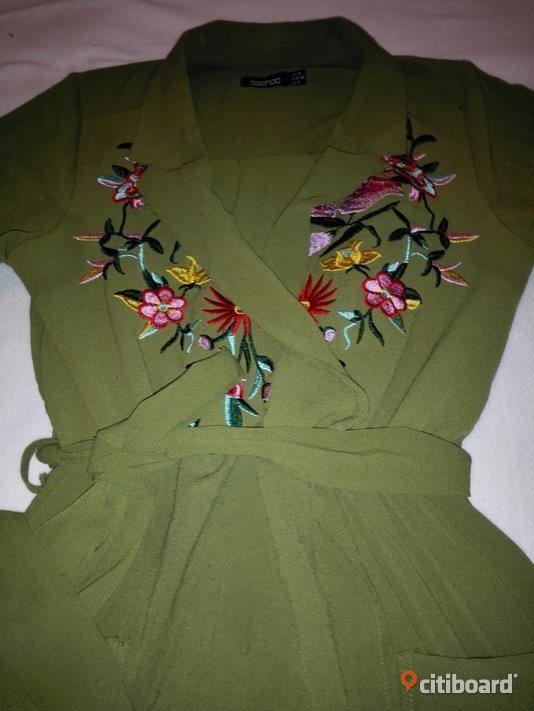 Embroidered front tie waist Shirt Dress_Khaki color_Size 38 36-38 (S) Umeå