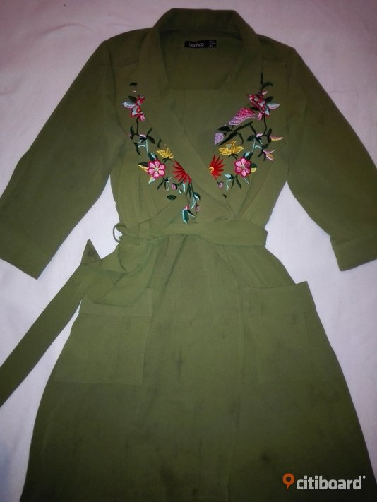 Embroidered front tie waist Shirt Dress_Khaki color_Size 38 36-38 (S) Västerbotten Umeå