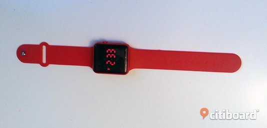 A-pple style red led hour, date, chrono Stockholm