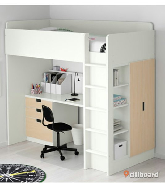 ikea stuva lofts ng med garderob och skrivbord haninge citiboard. Black Bedroom Furniture Sets. Home Design Ideas