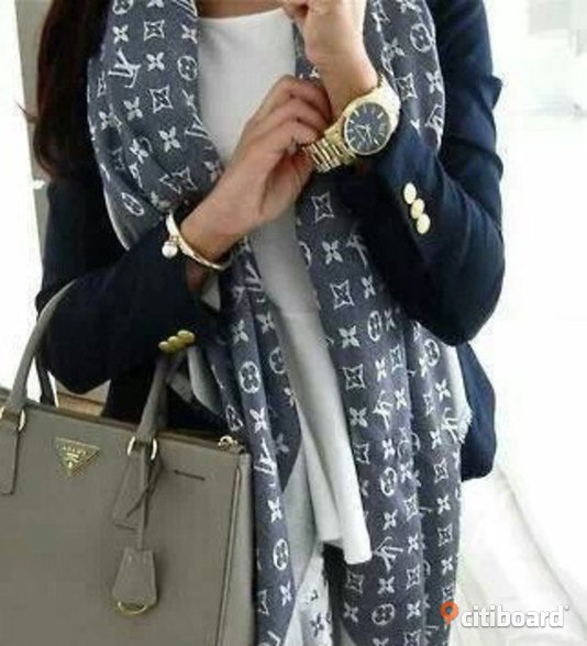Louis Vuitton Sjal Denim Scarf monogram LV Ull Silk
