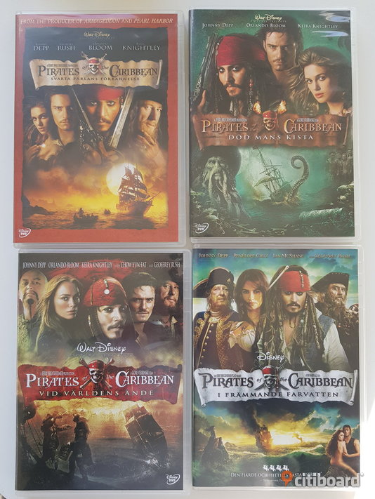 DVD-filmer: Pirates of the Caribbean 1 - 4 • Johnny Depp • Geoffrey Rush Mjölby Sälj
