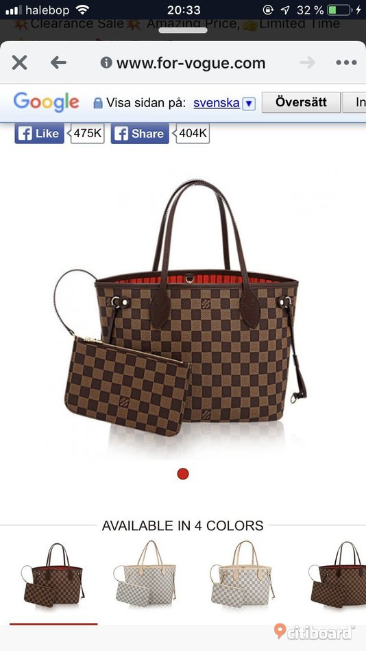 KÖPES Louis Vuitton Neverfull Mode Ragunda Sälj