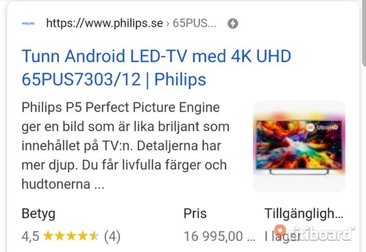 "Philips 65"" Smart TV 4K Örebro"