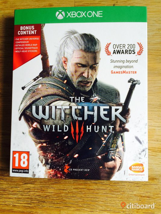 The Witcher 3, Wild Hunt, med bonusmaterial. Xbox one. Absolut nyskick!