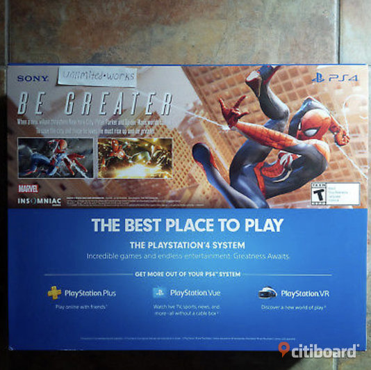 PlayStation 4 Slim 1TB-konsol - Marvel's Spider-Man Bundle - Jet Black PS4 Ny Fritid & Hobby Härnösand