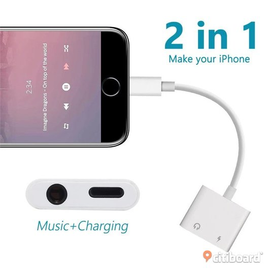 iphone to 3.5mm Dual Aux Jack Headphone Earphones Audio Splitter White Cable Charging  Stockholm