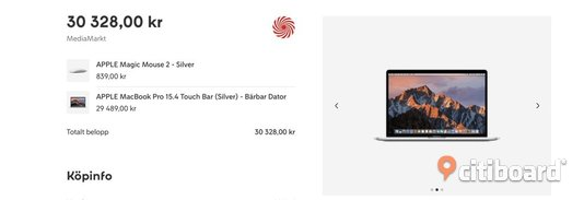 APPLE MacBook Pro 15.4 Touch Bar (Silver) - Bärbar Dator