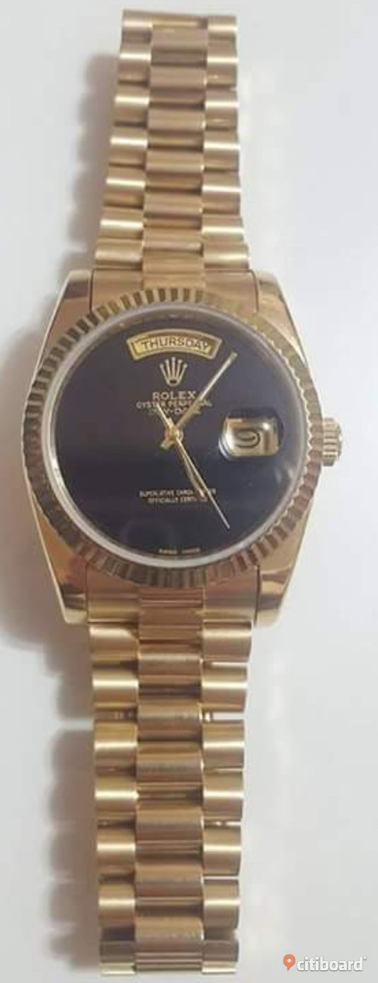 Rolex Day-Date Automatic Full Gold with Black Dial. Klockor Stockholm Sälj