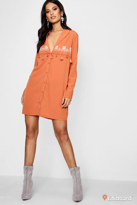 Front button shirt dress (Size EU 38/ UK 10) Boohoo 36-38 (S) Toppar Umeå