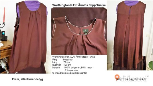 Worthington ® st. XL ® Ärmlös topp/Tunika