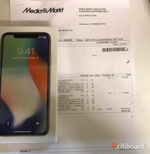 Apple iPhone X 256GB -Svart- Göteborg